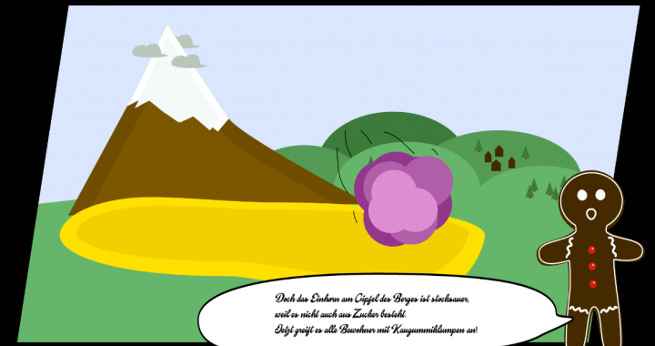 Screenshot from the introducing story of chocoshooter