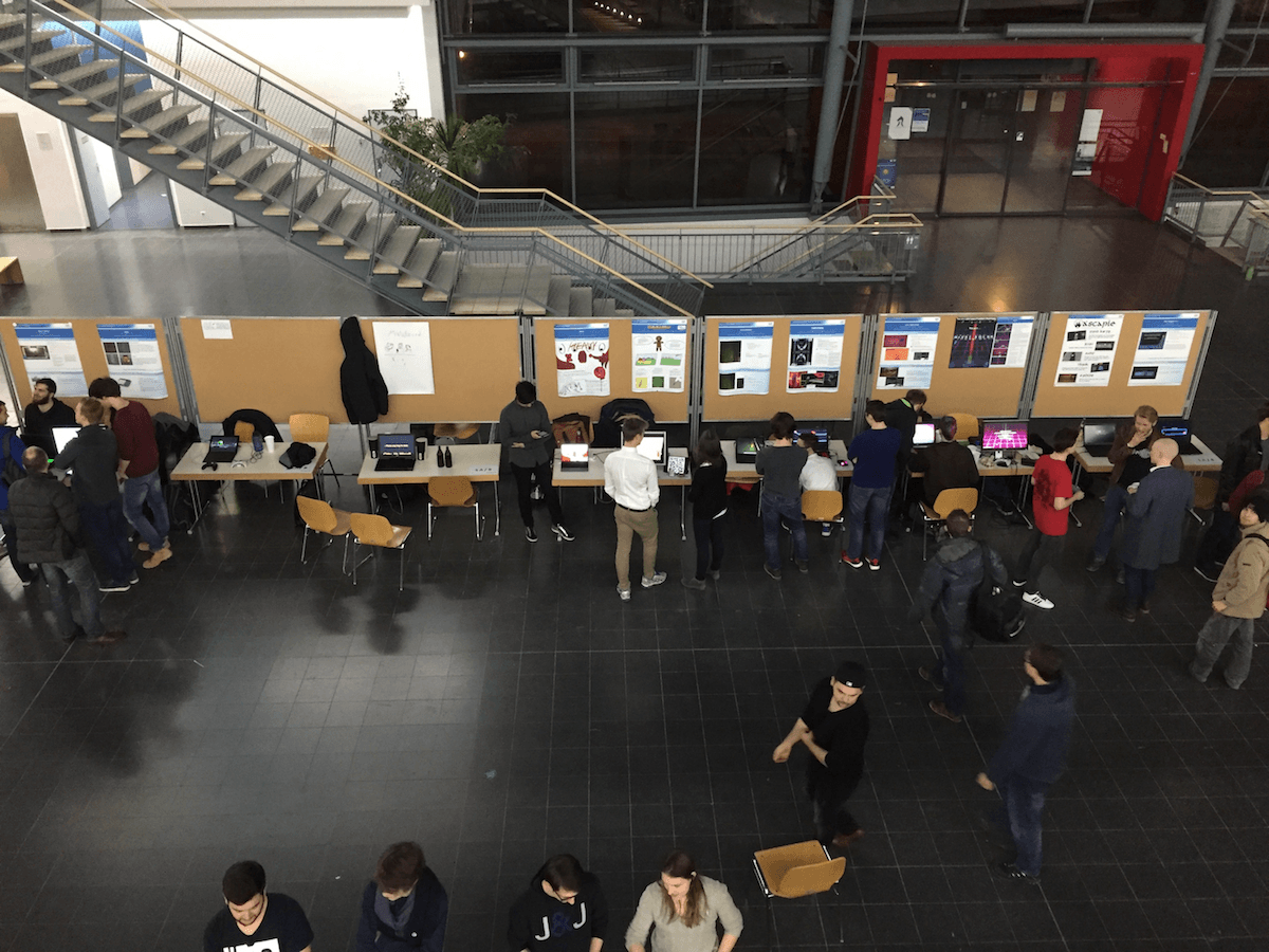 Exhibition hall with people